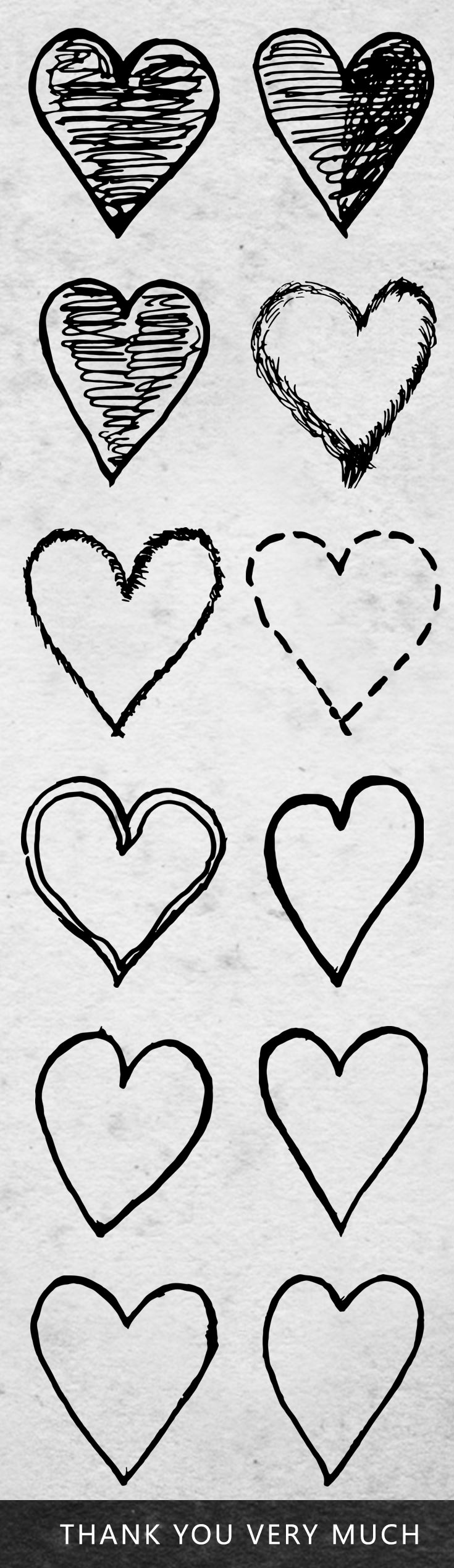 12 Free Hearts Doodle Cliparts