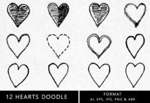 Hearts Doodle Clipart