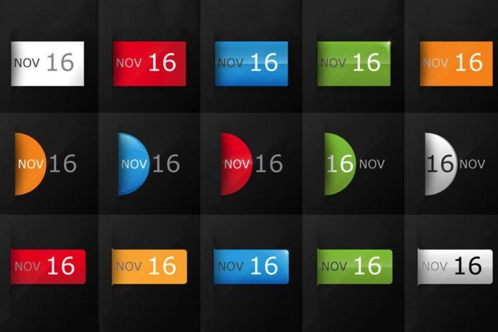 Free Date Calendar Icon Set