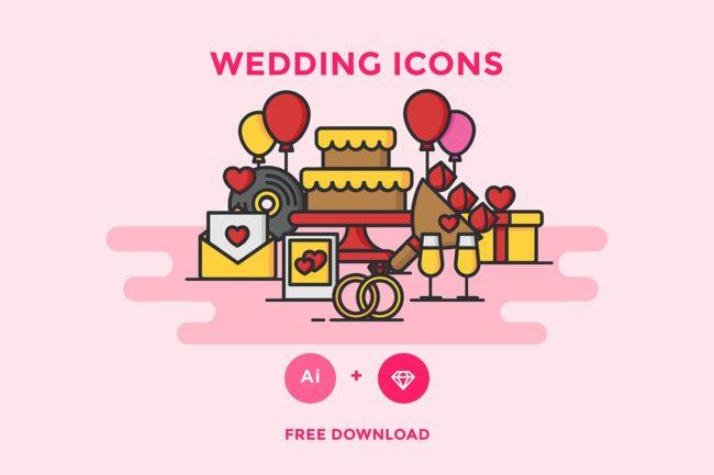 Free Wedding Vector Icons Set