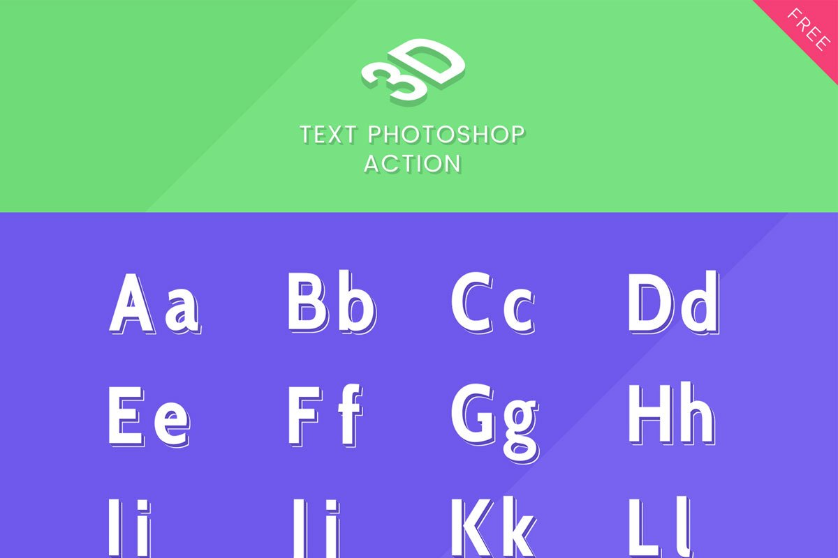 Free 3D Text Photoshop Action