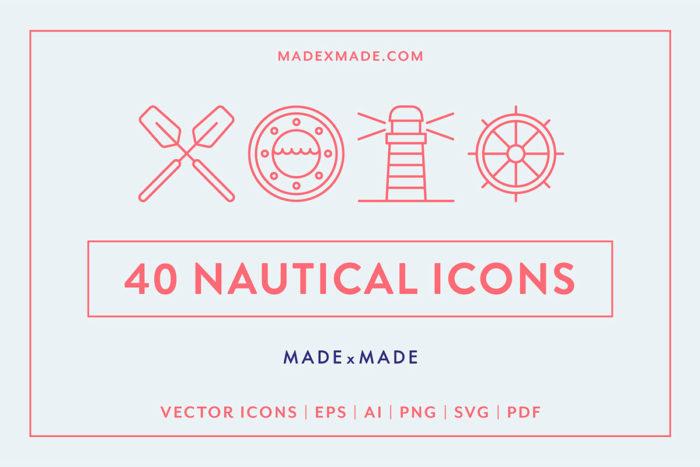 40 Free Nautical Line Icons