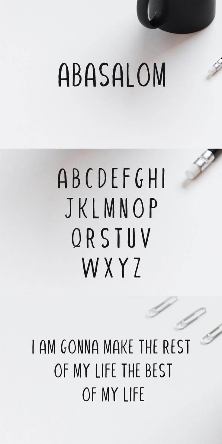 #Free Abasalom #Handwriting #Font is a simple font, comes with uppercase only. This font can always be the right choice for a lot of creative works.