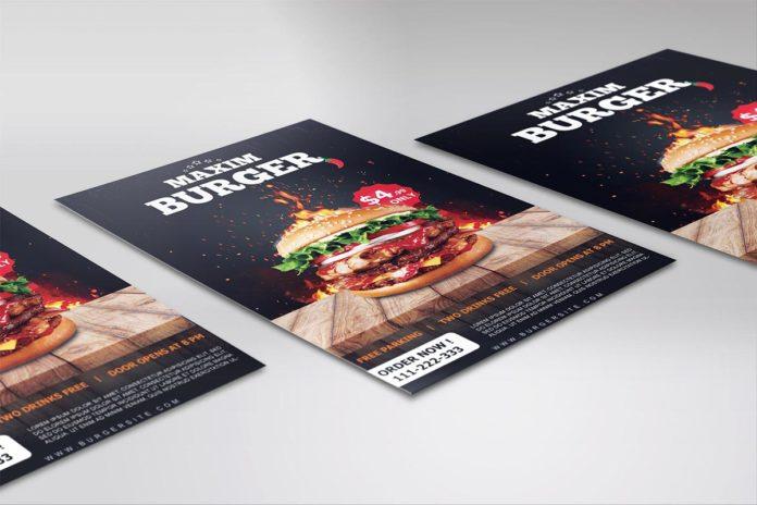 Free Burger Restaurant Flyer PSD Template