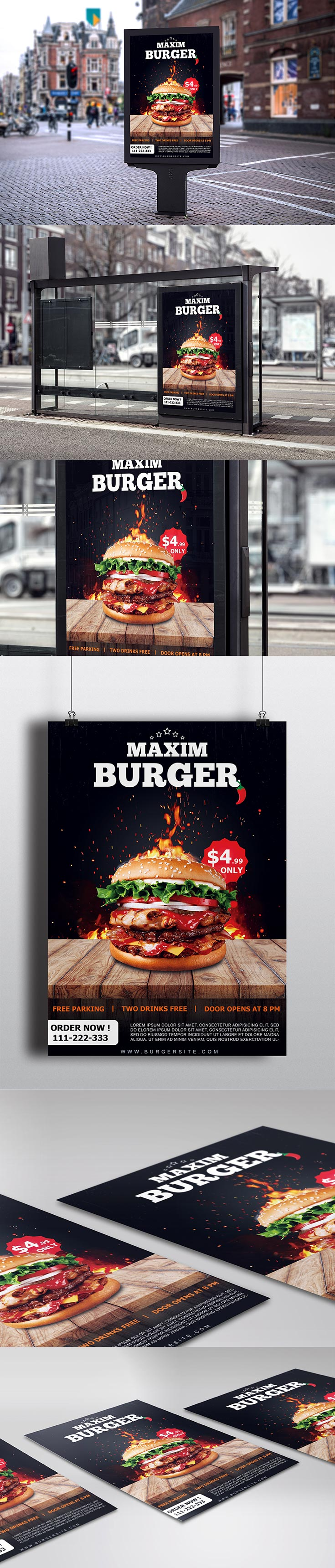 Free Burger Restaurant Flyer PSD Template