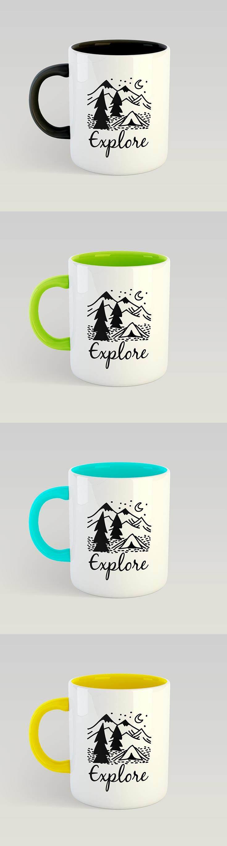 Free Dual Tone Coffee Mug Mockup