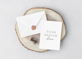 Free Invitation Card Envelope PSD Mockup