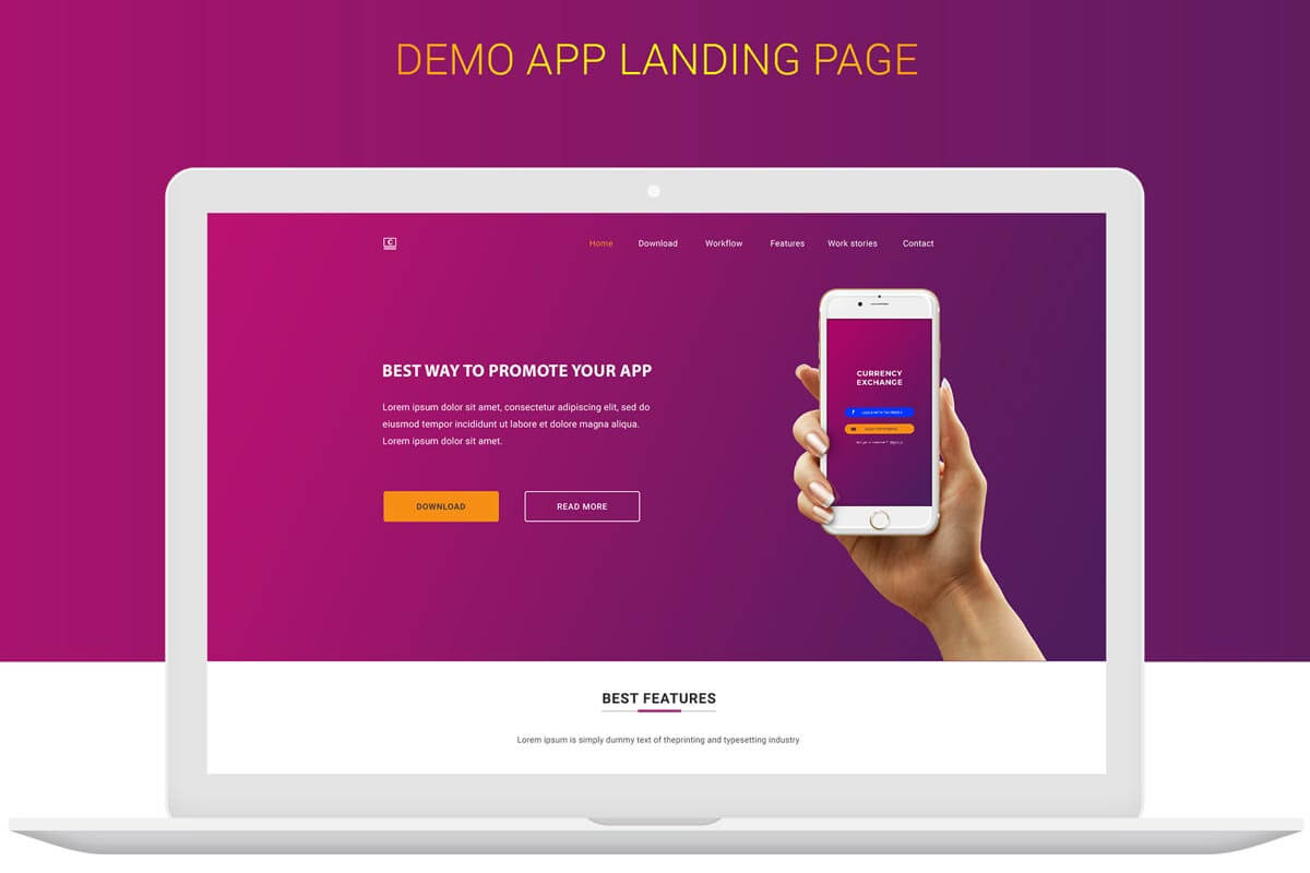 Free money exchange app landing page design psd for App design online