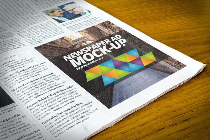 Free Newspaper Advert Mockup PSD