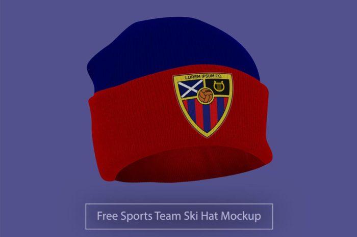 Free Sports Team Ski Hat Mockup PSD
