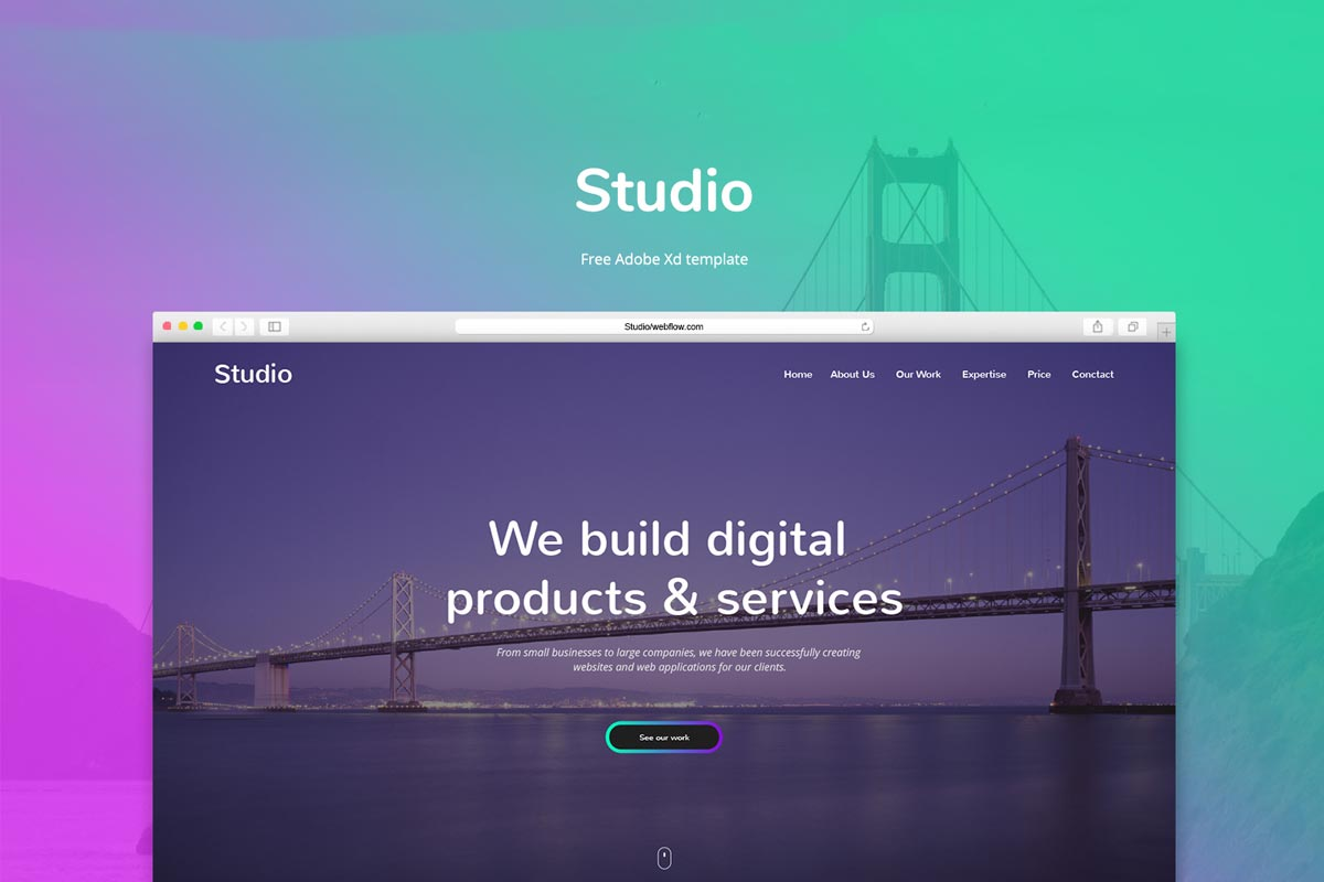 Free Studio Adobe Xd Template - Creativetacos