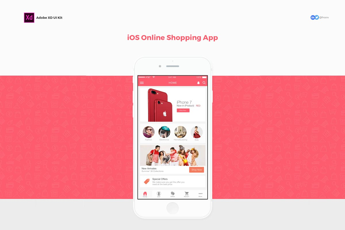 Free iOS Online Shopping App Adobe XD - Creativetacos