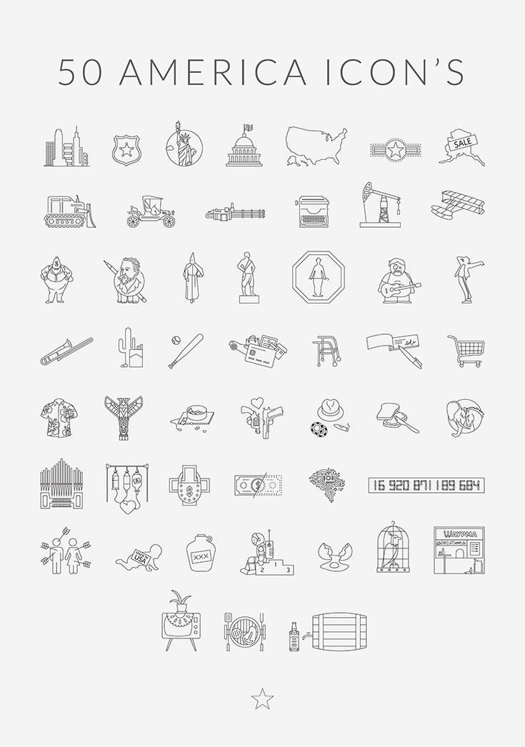 Free 50 America Set Vector Icons