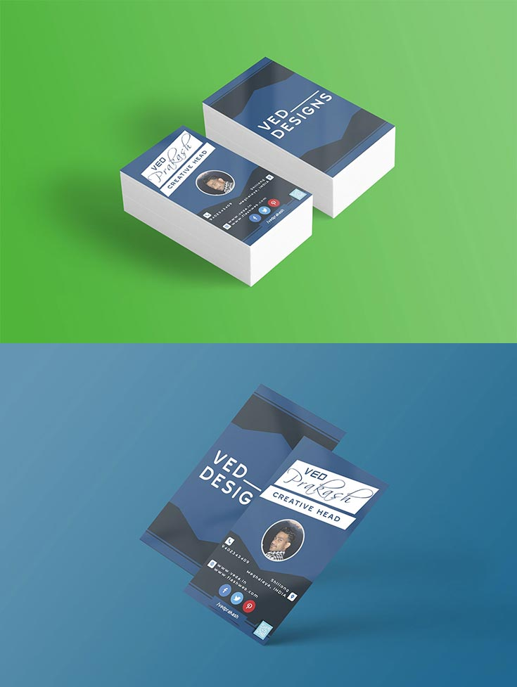 Free Flat Business Card PSD Template
