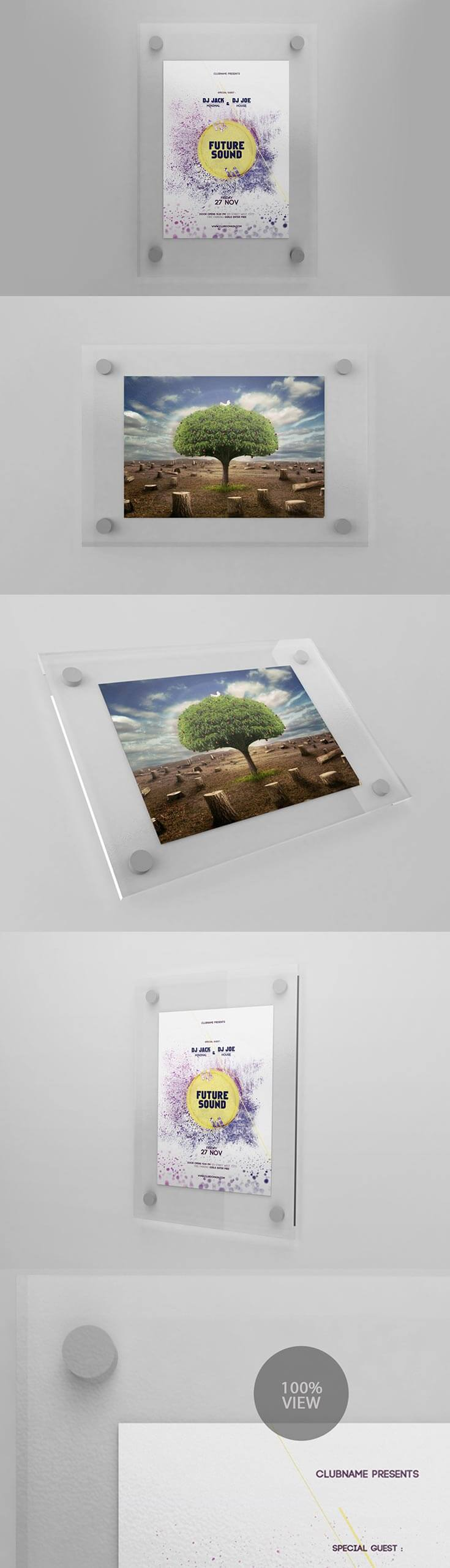 Free Frosted Glass Flyer Mockup