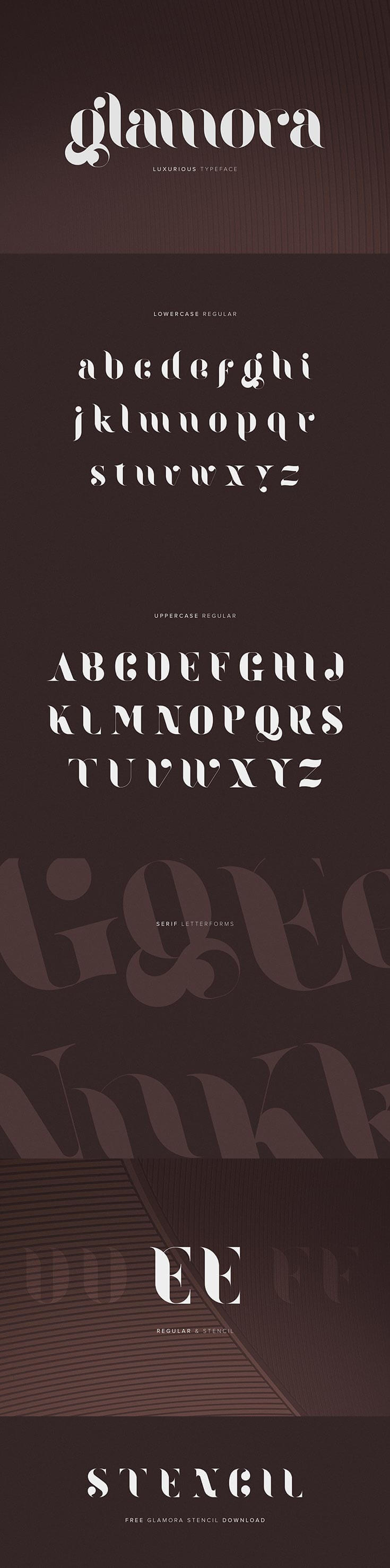 Free Glamora is a #free #serif #font which takes inspiration from classical publication headlines and title pages. The font features both uppercase and lowercase.