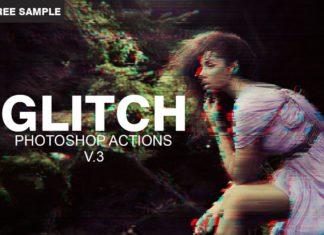 Free Glitch Photoshop PSD Template V.3