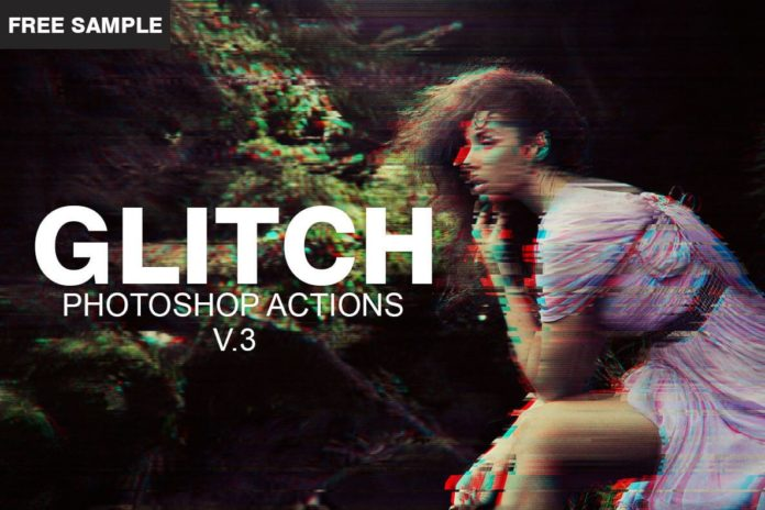Free Glitch Photoshop PSD Template V.3