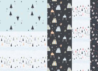 Free Hand Drawn Seamless Winter Patterns
