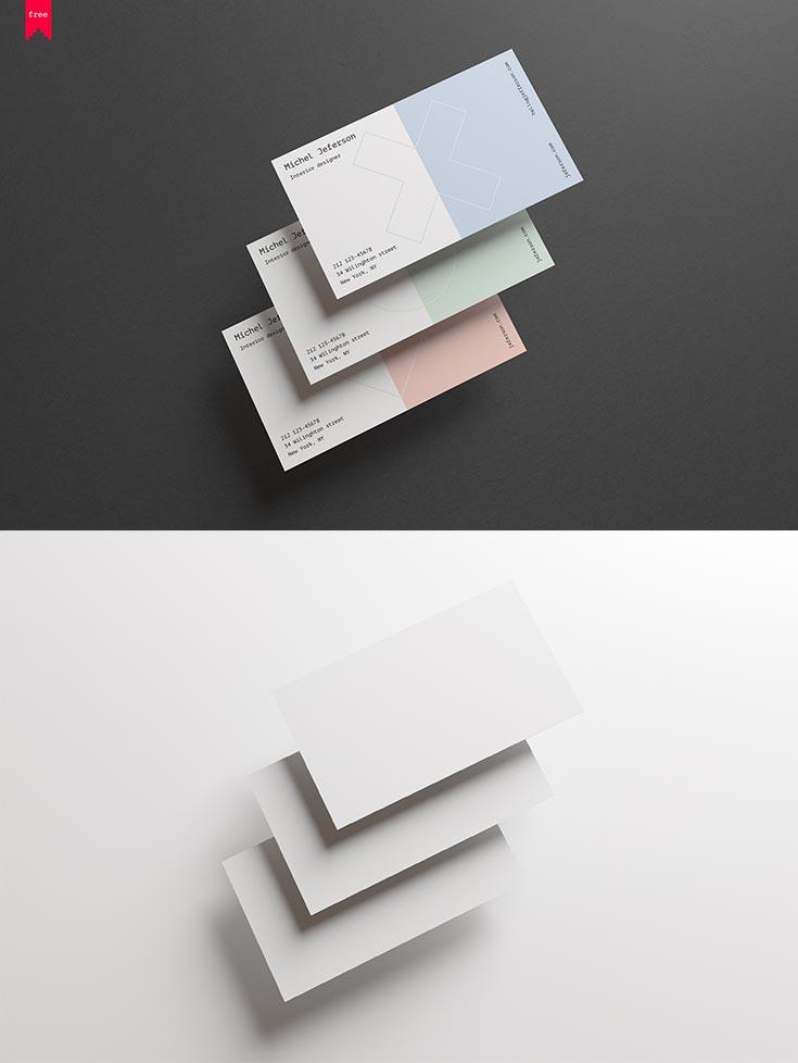 Free Horizontal Business Cards Mockup