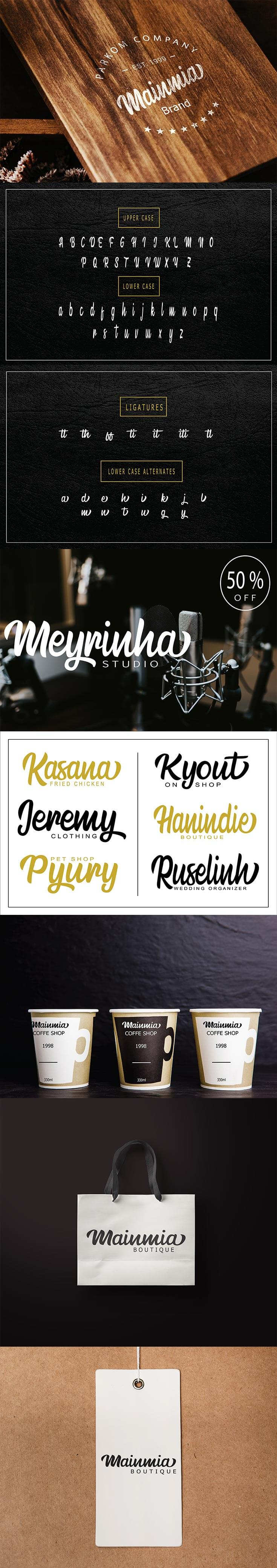 #Free Mainmia #Script #Font is a hand lettering font. This font is good for brand design, t-shirt, logo, labels, posters and etc.