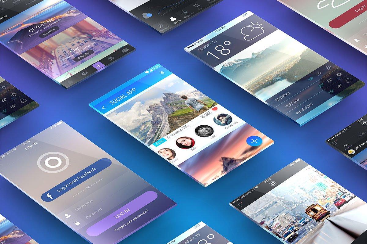 Free Perspective Screens App Presentation Mockup