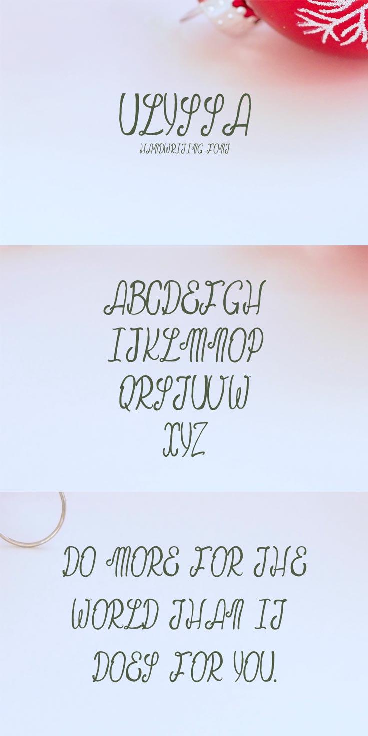 Free Ulyssa Demo Handwritten Font