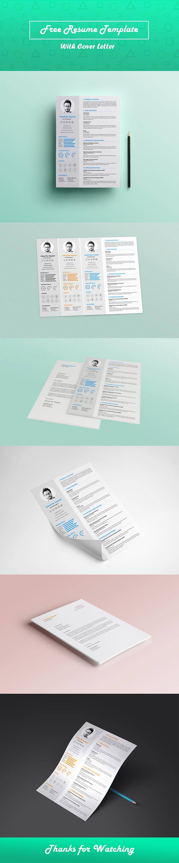 #Free CV #Resume PSD #Template is an attractive quality CV/resume template. The template also comes with a cover letter to give it a more professional look.