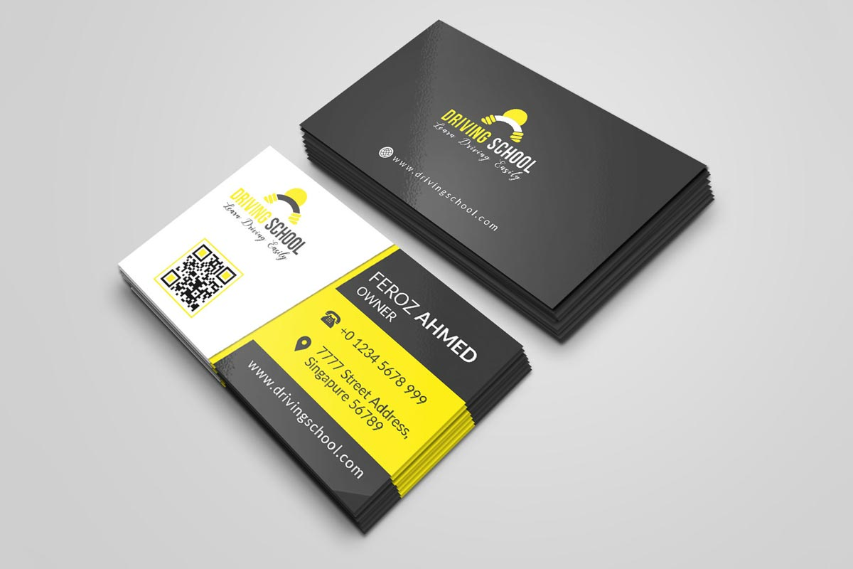 Free Driving School Business Card PSD Template Creativetacos - Business cards psd templates