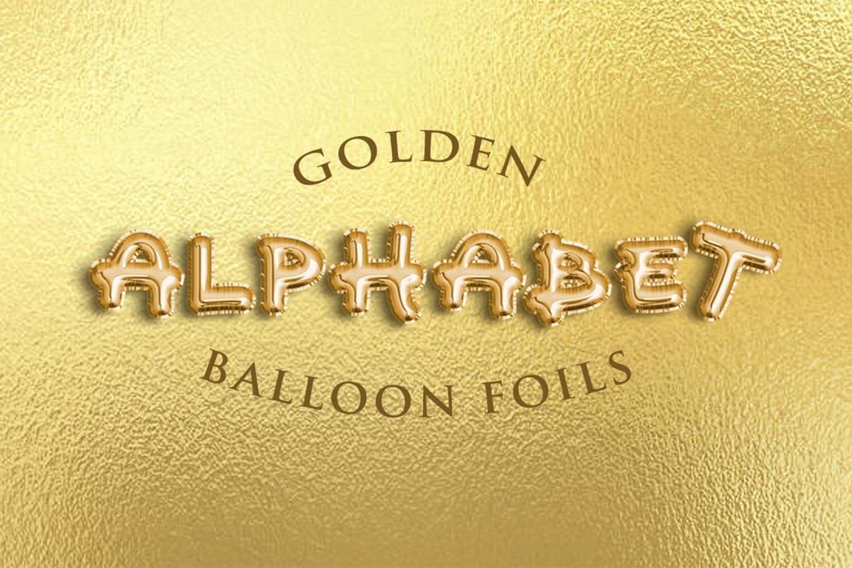 Free Golden Alphabet Balloon Foils PSD - Creativetacos