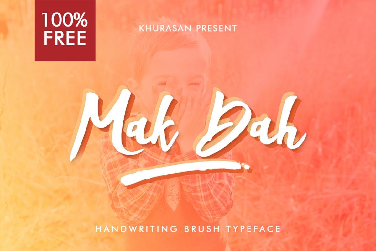 Free Mak Dah Brush Script Font