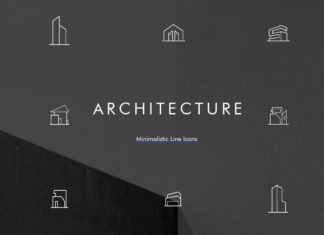 Free Minimal Architecture Line Icon Pack PSD