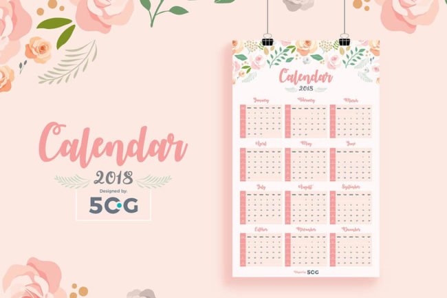 Free One Page 2018 Printable Wall Calendar Template