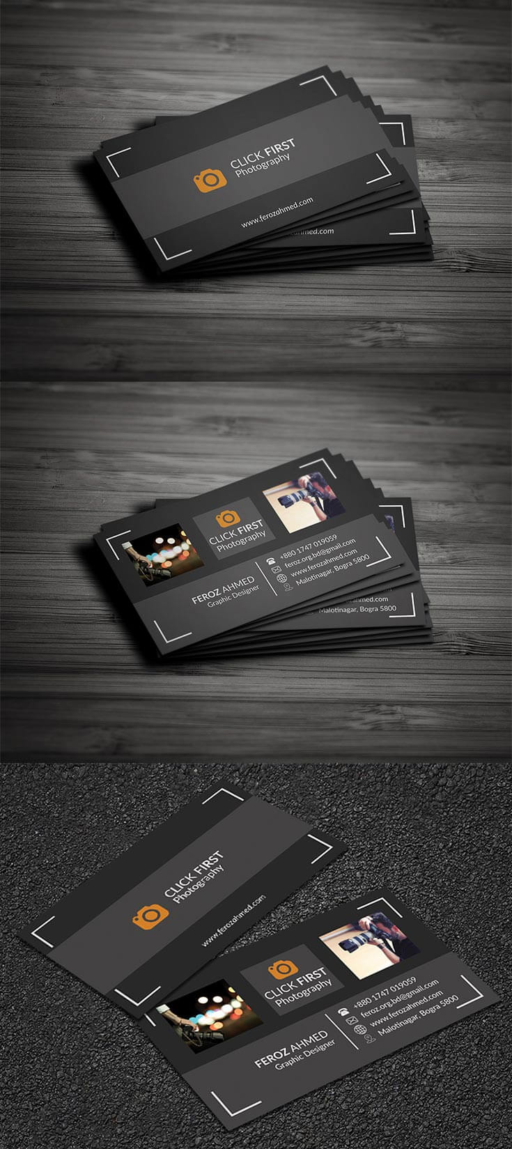#Free Photography #Business #Card Template features a clean. It even comes with a simple camera logo, which you can use for simple branding.