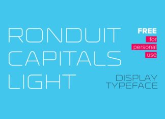 Free Ronduit Capitals Light Display Font