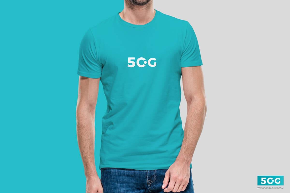 Free Young Man Wearing T-Shirt Mockup