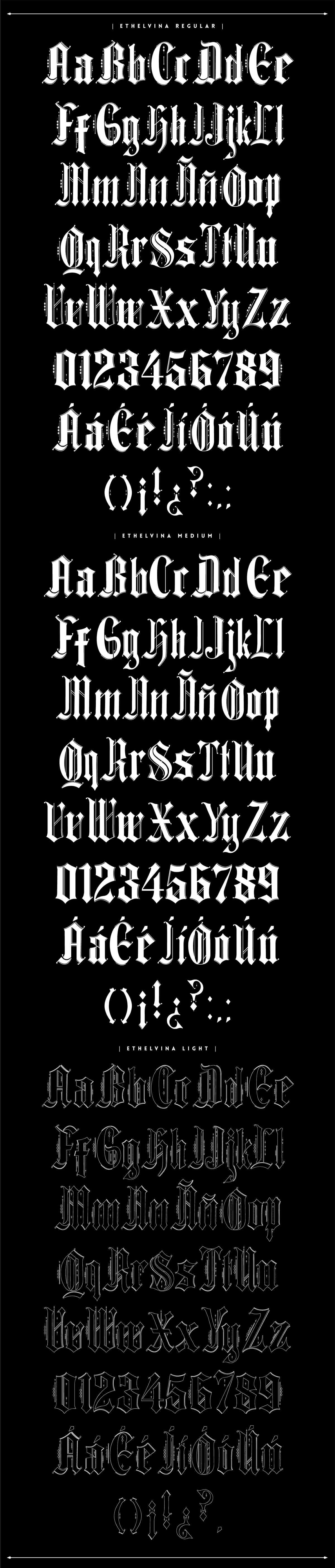 Ethelvina Free Gothic Typeface