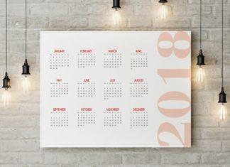 Free 2018 Printable Wall Calendar Template