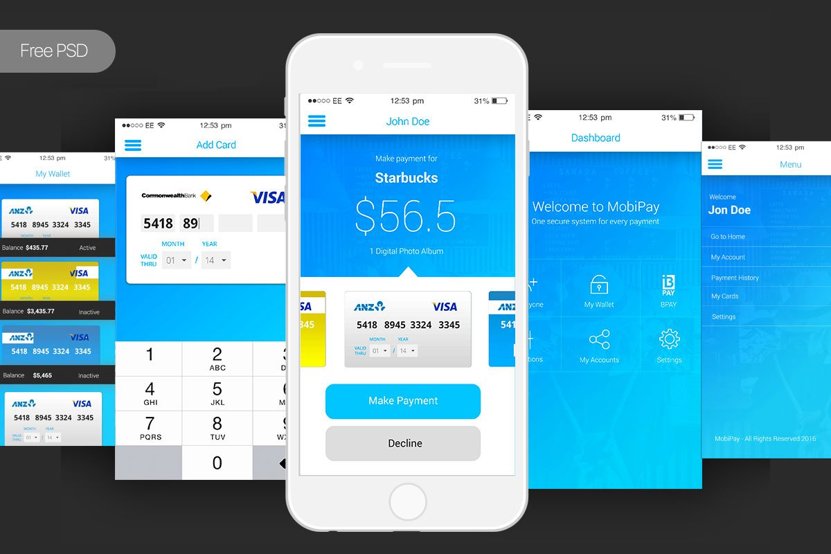 Free Bank Payment Mobile App PSD