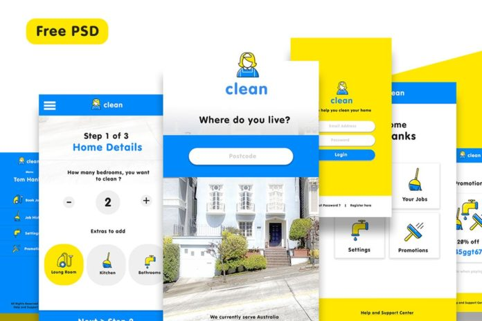 Free Cleaning Service App UI PSD