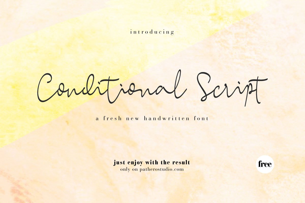 Conditional Script was created to look as close to a natural handwritten script. It comes with uppercase and lowercase letters, numerals, ...