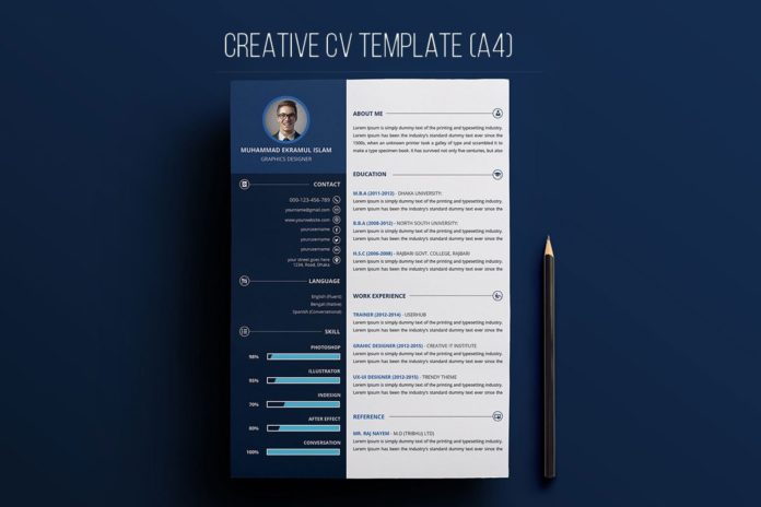Free Creative Resume PSD Template