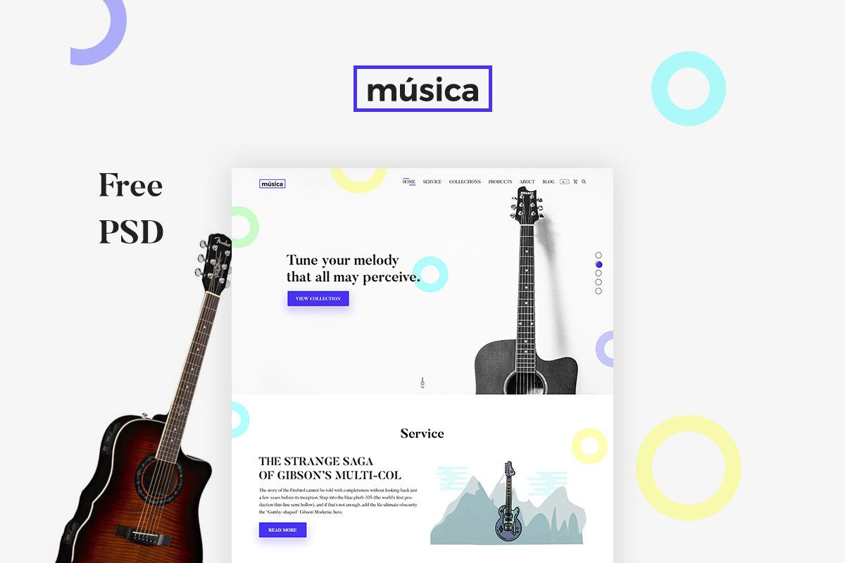 free musica guitar store design psd template creativetacos. Black Bedroom Furniture Sets. Home Design Ideas