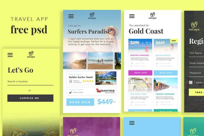 Free Travel App UI PSD Template