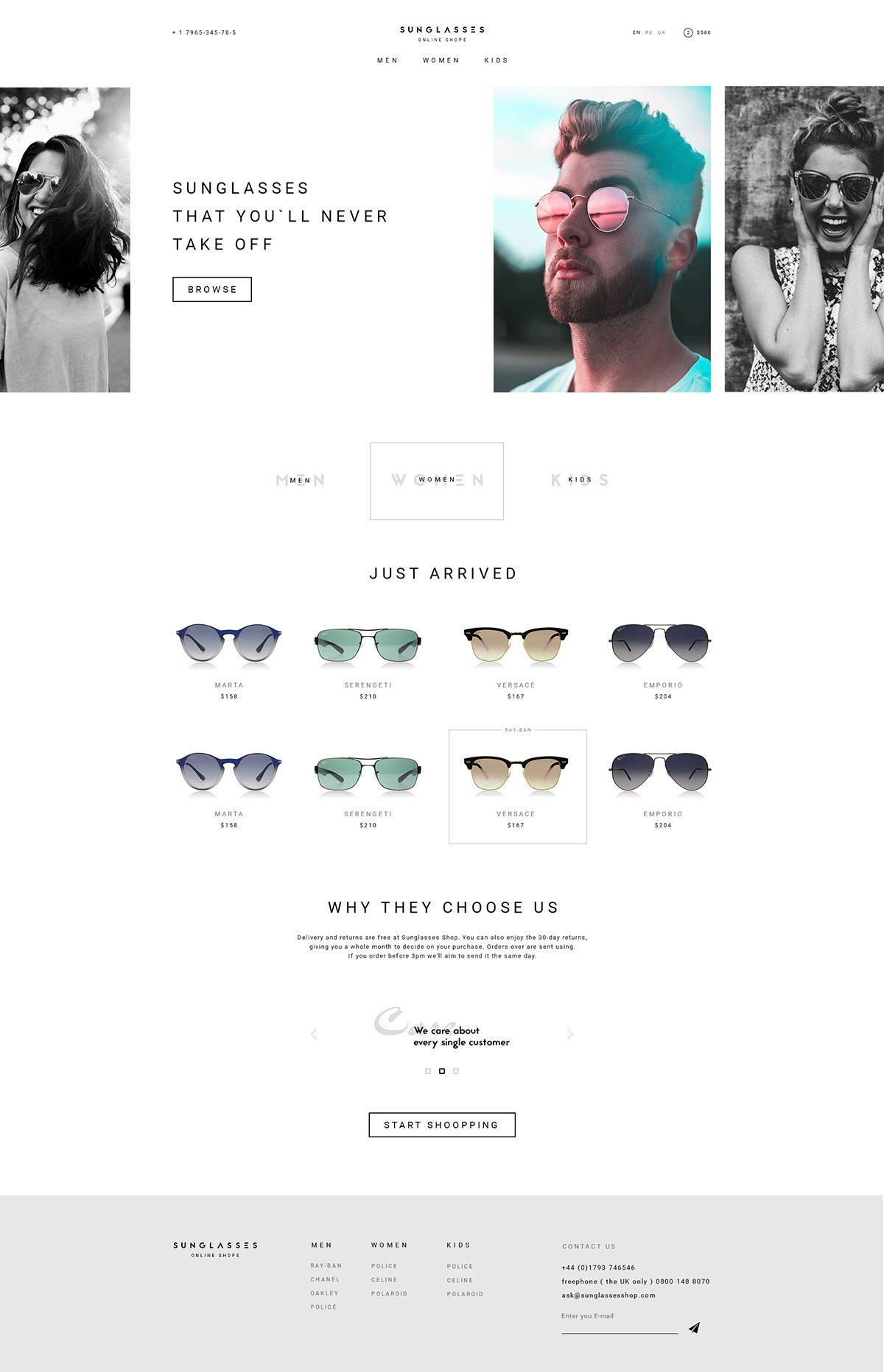 Free Sunglasses Store Online Website Design Template