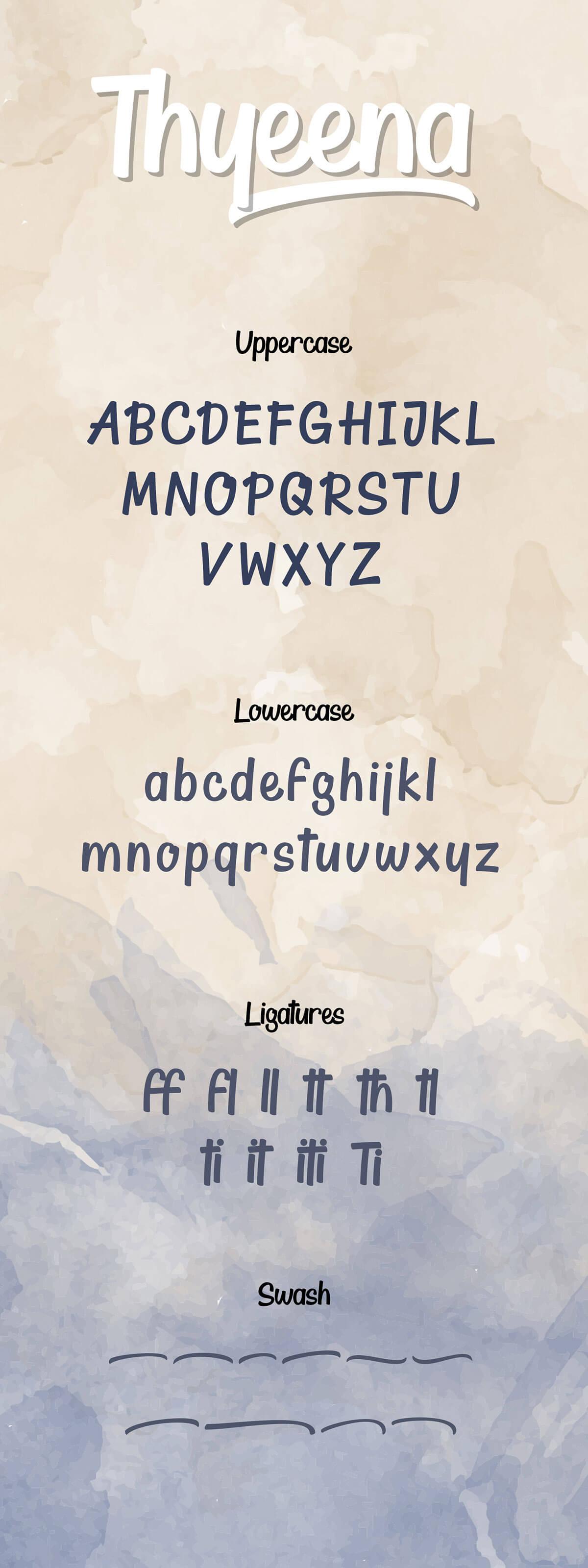 Free Thyeena Handwritten Script Typeface