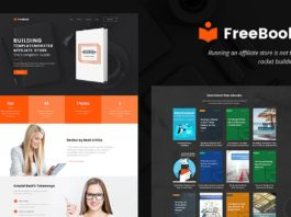 Free FreeBook Landing Page WordPress Theme