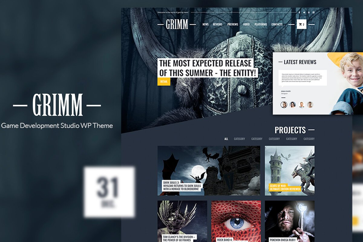 Free Grimm Game Development Studio WP Theme - Creativetacos