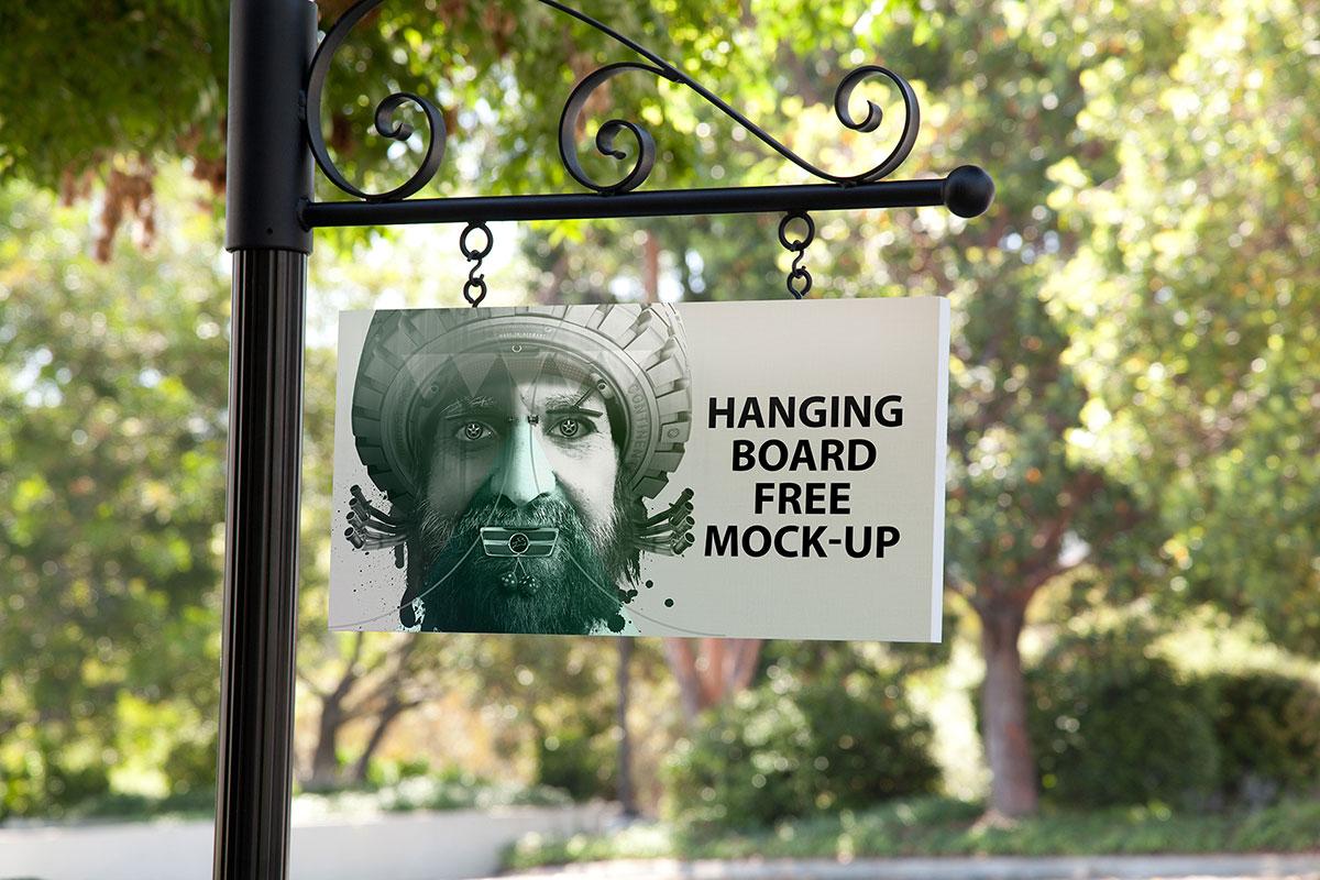 Free Hanging Board Mockup