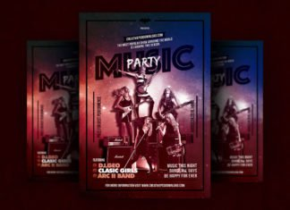 Free Music Party Flyer PSD Template